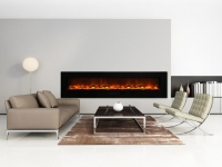 Grey contemporary gas fireplace interior, living room