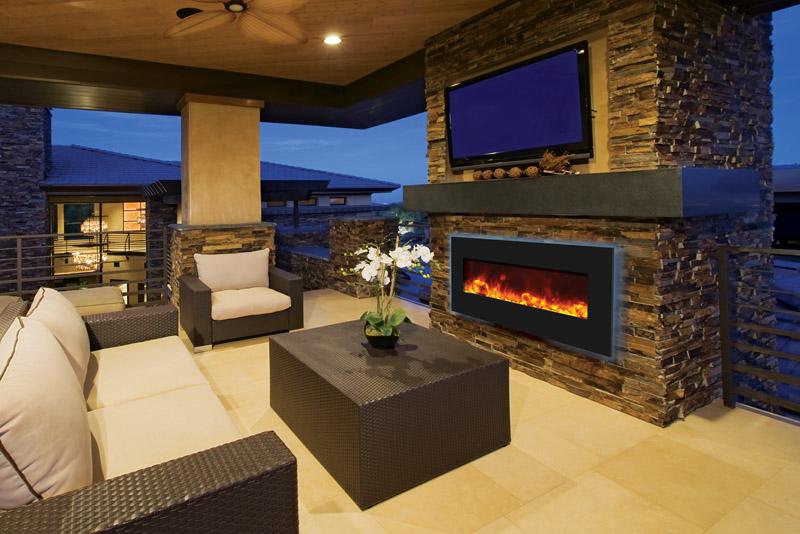 Amantii – WM‐BI‐FI‐48‐5823‐BLKGLS Electric Fireplace - Amantii