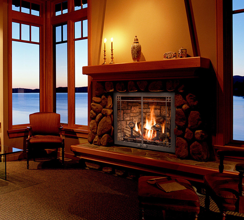 Fireplace In Living Room Of Home Overlooking Gulf Islands Twilight