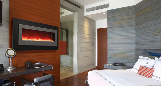 Linear electric fireplaces by Sierra Flame